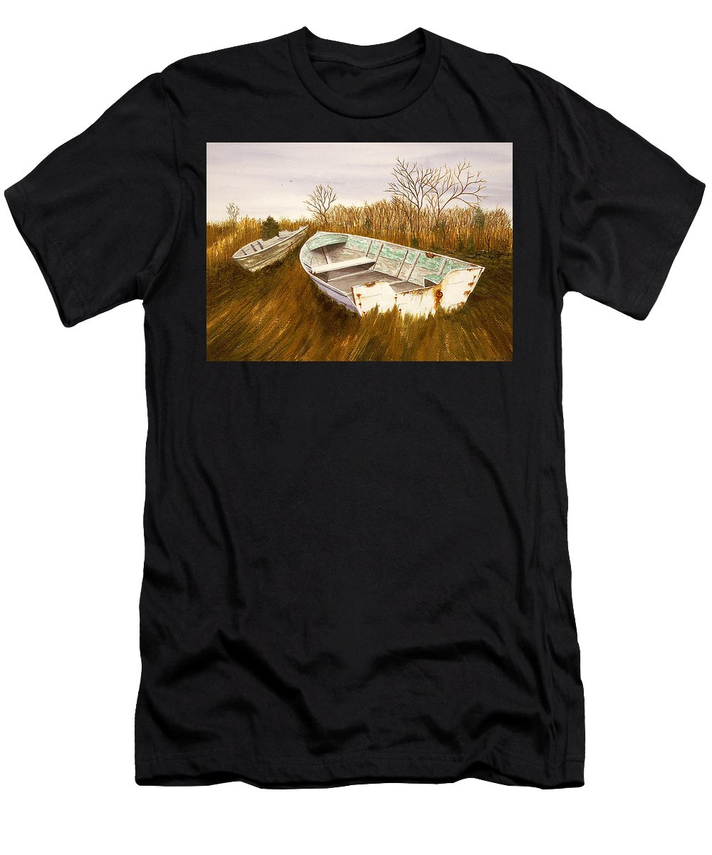 Men's T-Shirt (Athletic Fit) featuring the painting Boats By Causeway by Tony Scarmato
