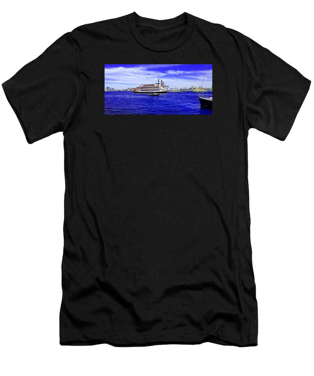Sydney Men's T-Shirt (Athletic Fit) featuring the photograph Boats Everywhere During Navy Fleet Review In Sydney by Miroslava Jurcik