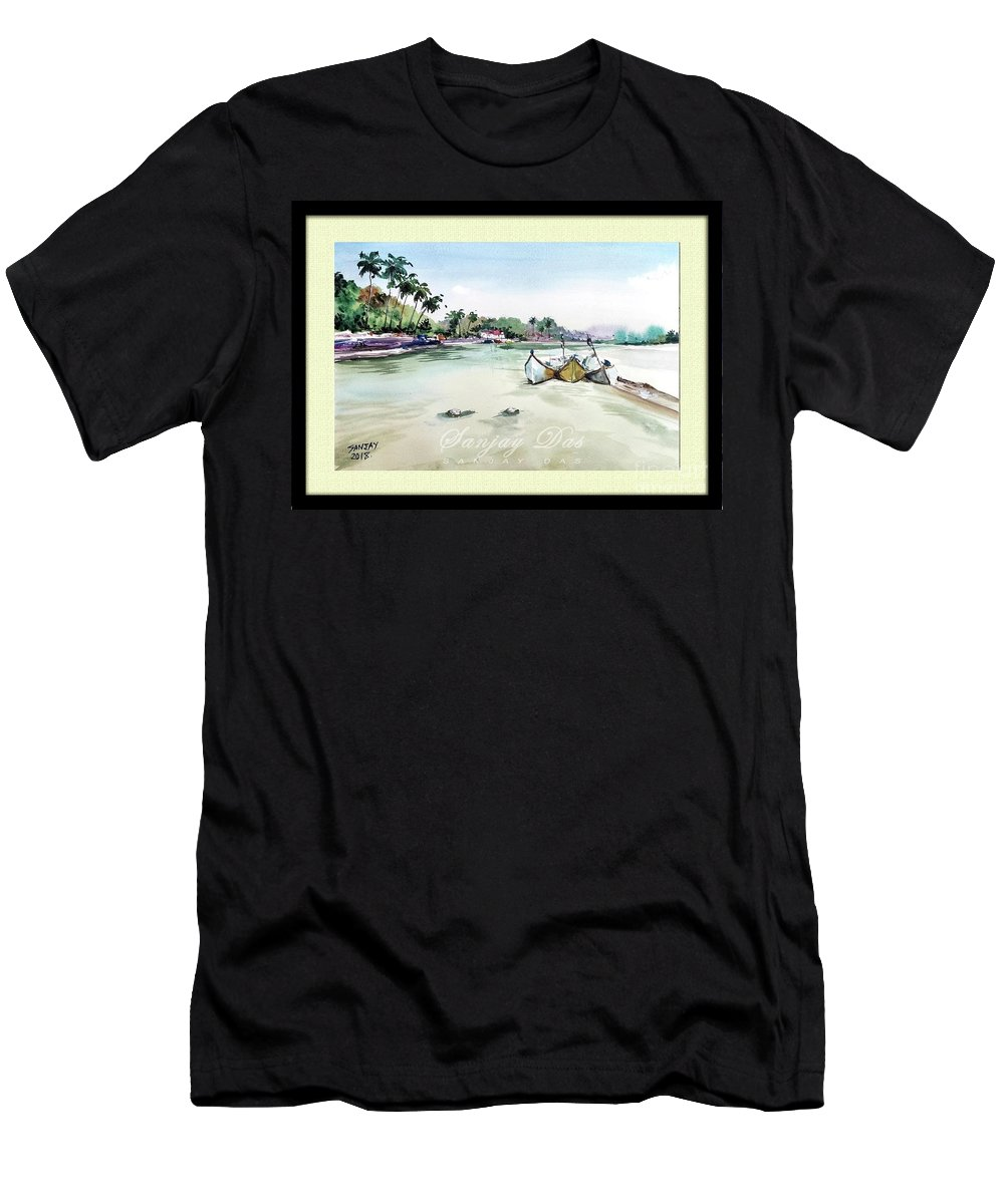 Watercolor Men's T-Shirt (Athletic Fit) featuring the painting Boats In Beach by Sanjay Das