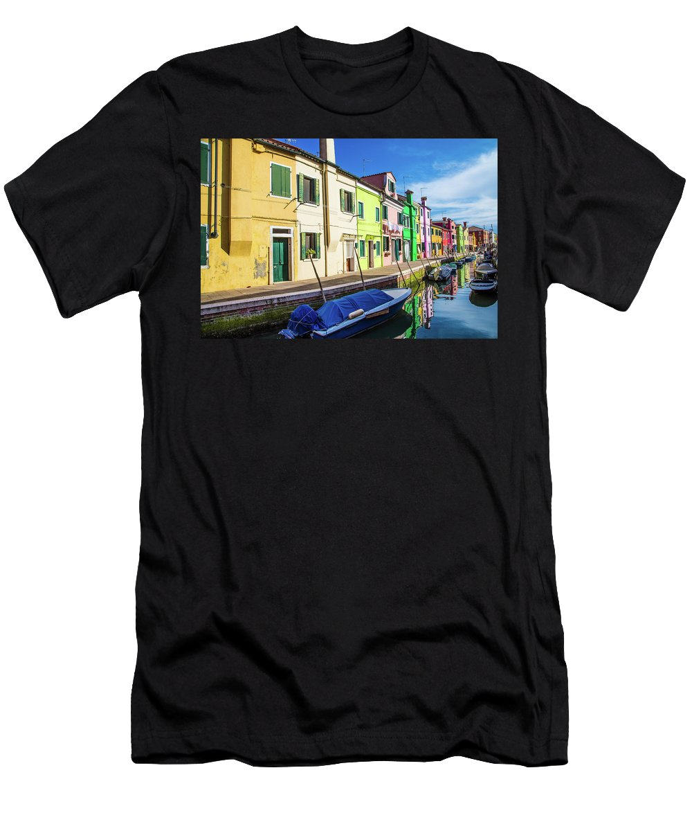 Burano Men's T-Shirt (Athletic Fit) featuring the photograph Boats In Burano by Darryl Brooks