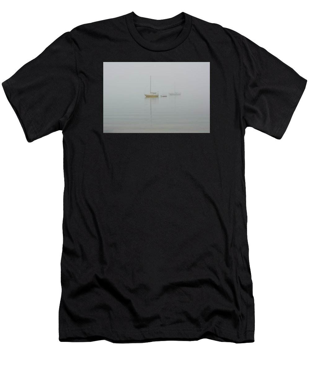 Luxury; Abstract; Abstraction; Luxury Fine Art; Fine Art; Computational; Computer; Photography; Fine Art Photographer; Digital Imaging; Giclee; Blue; Sparkle; Water; Sea; Ocean Boat Men's T-Shirt (Athletic Fit) featuring the photograph Boats In Fog by Gene Norris