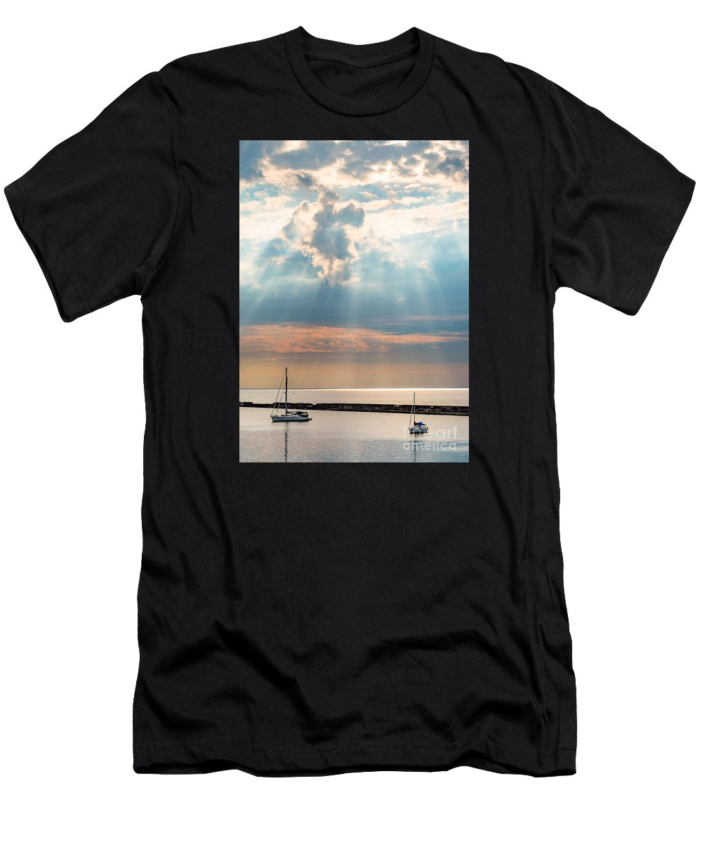 Adventure Men's T-Shirt (Athletic Fit) featuring the photograph Boats In God Rays by Scott Chimber