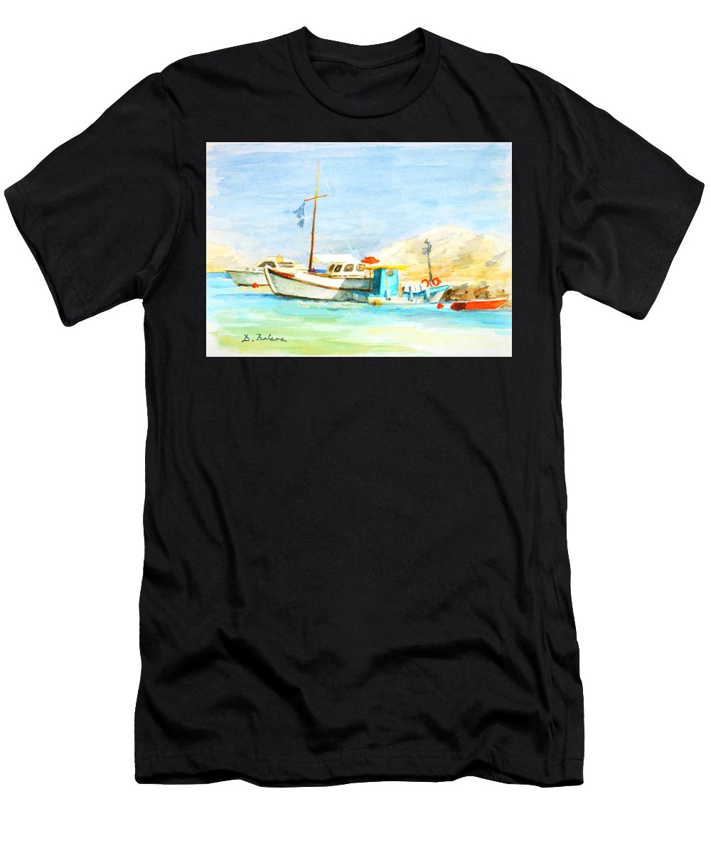 Seascape Men's T-Shirt (Athletic Fit) featuring the painting Azure Harbor by Dusan Balara