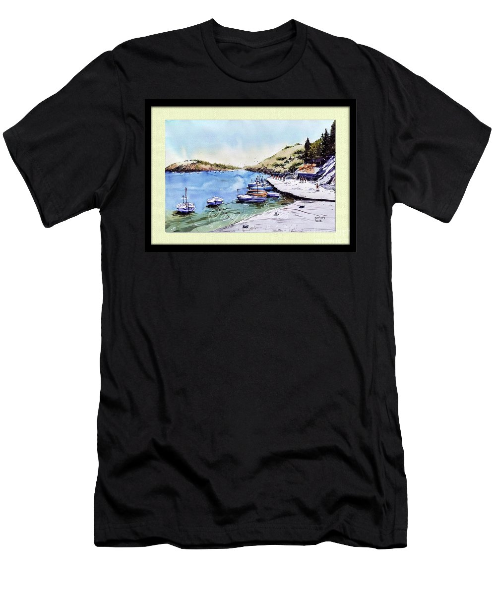 Boats Men's T-Shirt (Athletic Fit) featuring the painting Boats In Spain by Sanjay Das