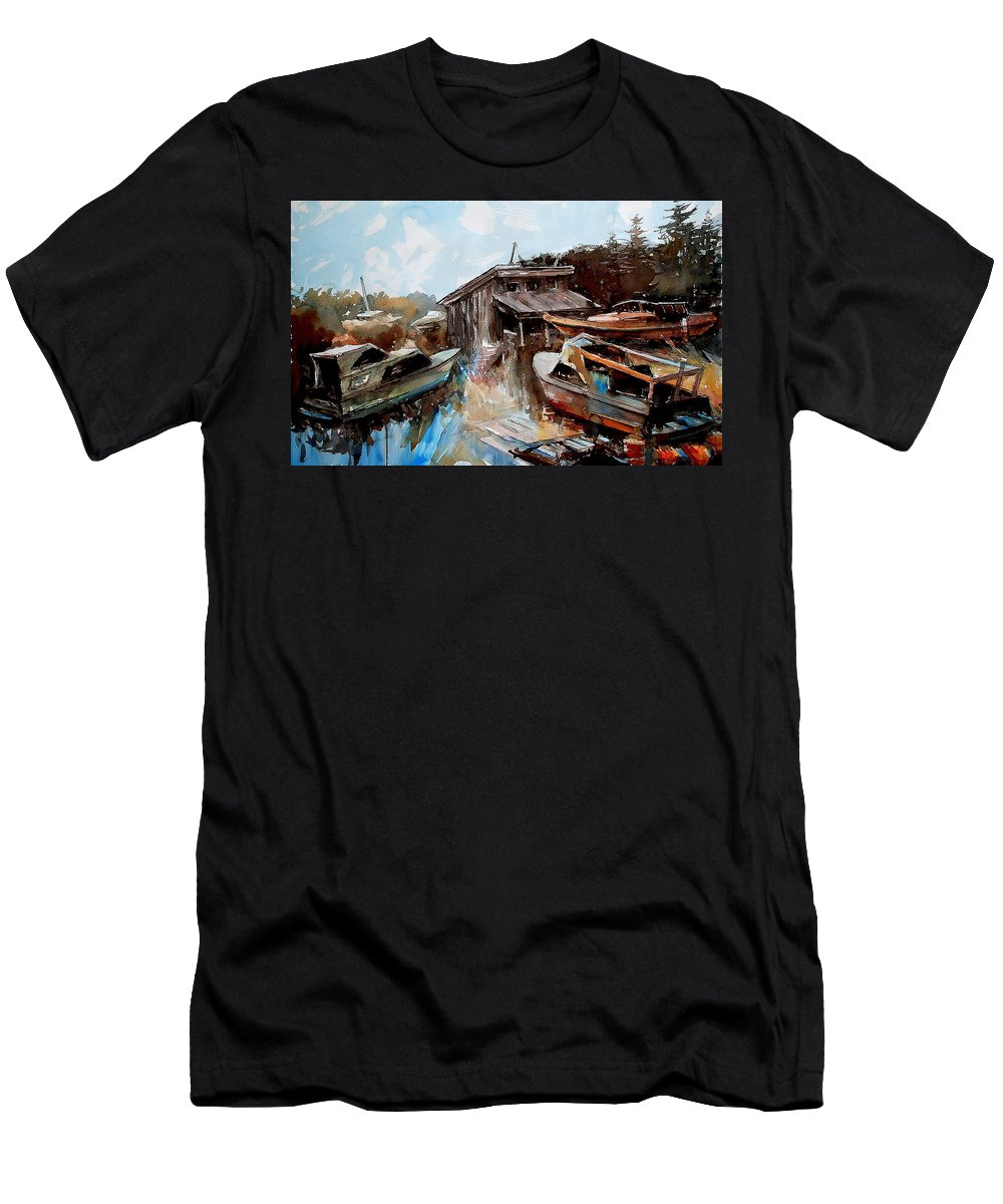 Boats House Water Men's T-Shirt (Athletic Fit) featuring the painting Boats In The Slough by Ron Morrison