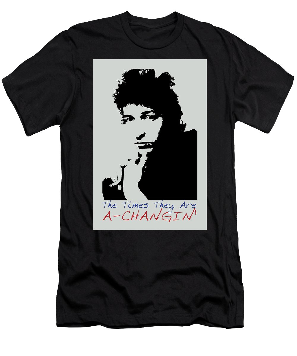 Bob Dylan T-Shirt featuring the painting Bob Dylan Poster Print Quote - The Times They Are A Changin by Beautify My Walls
