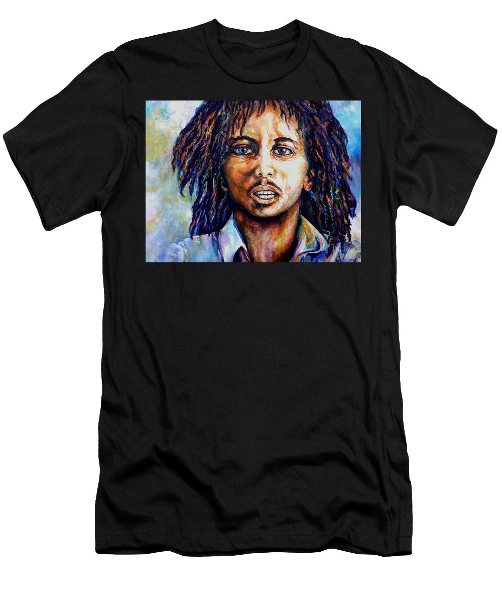 Original Fine Art By Lloyd Deberry Men's T-Shirt (Athletic Fit) featuring the painting Bob Marley by Lloyd DeBerry