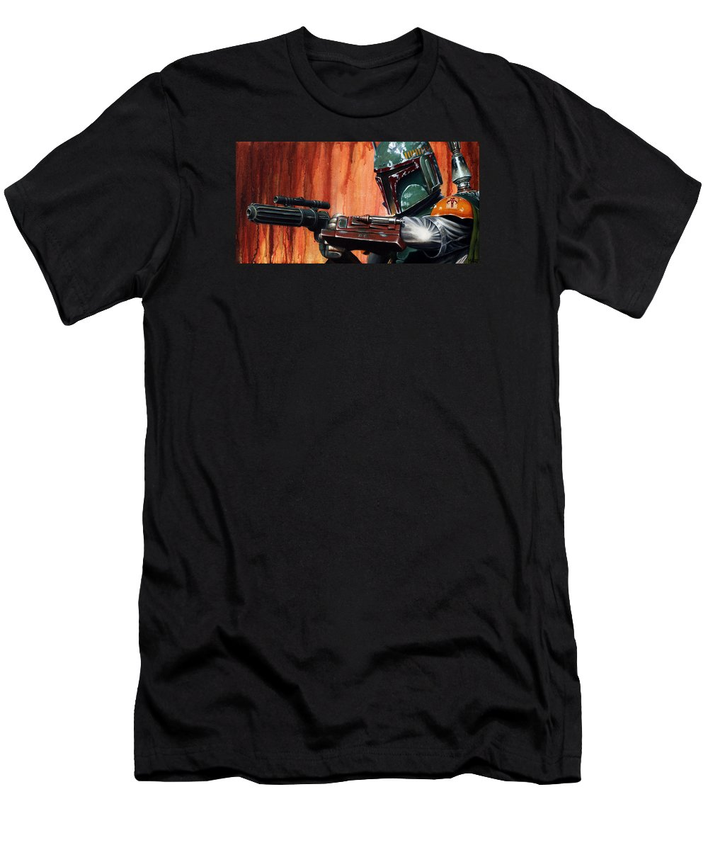 Star Wars Men's T-Shirt (Athletic Fit) featuring the painting Boba Fett by Marlon Huynh