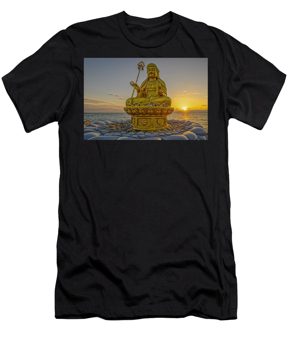 Temple Men's T-Shirt (Athletic Fit) featuring the photograph Bodhisattva Sunrise by Tony Crehan
