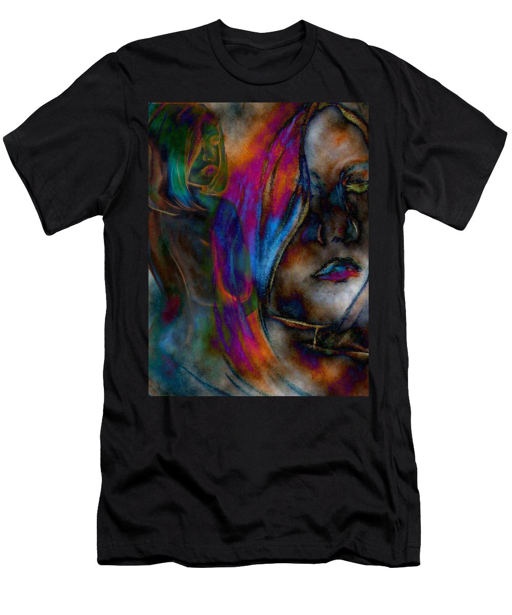 Faces Anatomy Body People Faces Colors Colorful Men's T-Shirt (Athletic Fit) featuring the digital art Body And Mind by Lisa Stanley