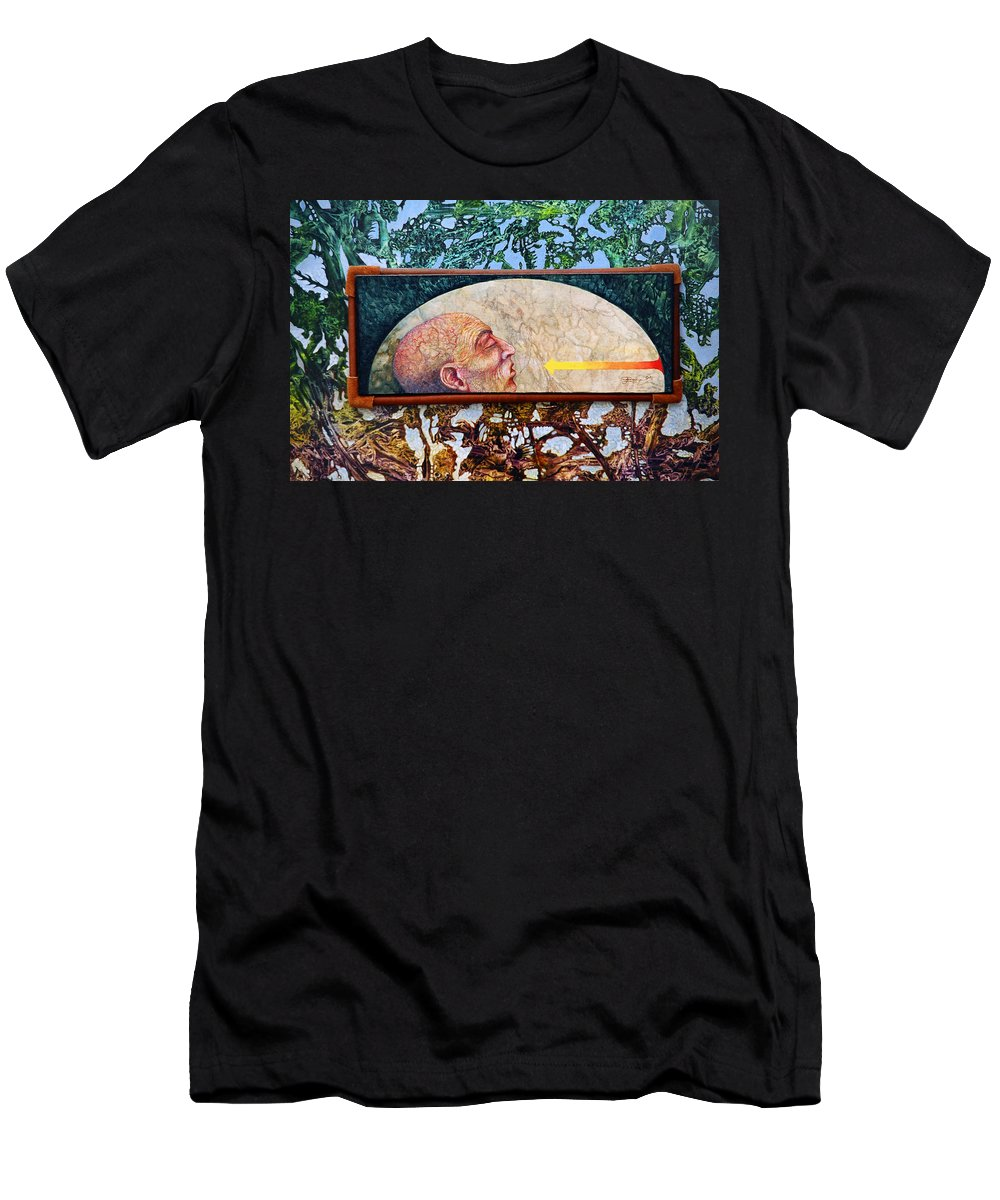 Surrealism Fantasy Fantastic Realism Decalcomania Otto Rapp The Mystic Men's T-Shirt (Athletic Fit) featuring the painting Bogomil Rising by Otto Rapp