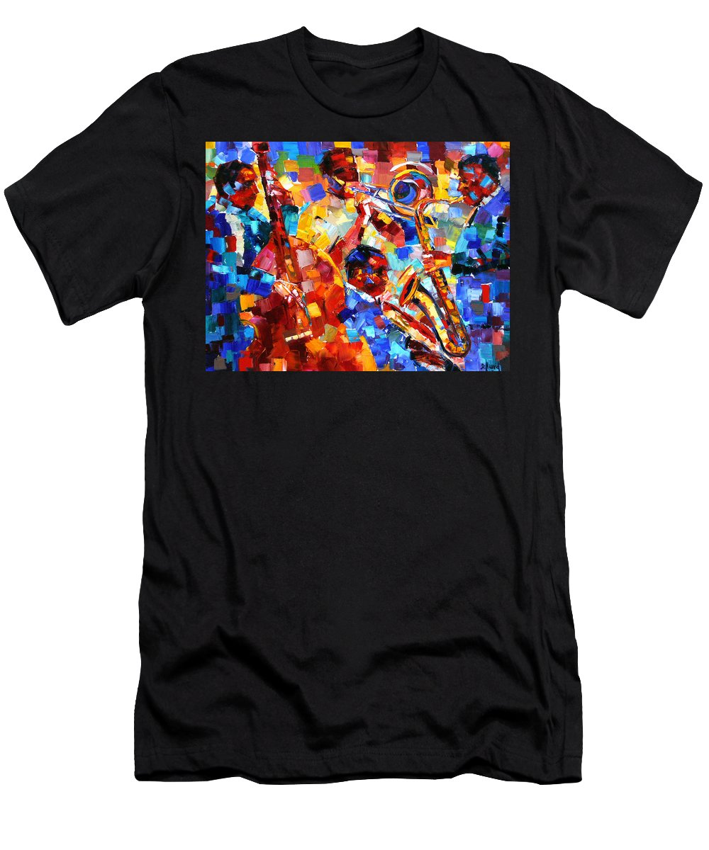 Jazz Men's T-Shirt (Athletic Fit) featuring the painting Bold Jazz Quartet by Debra Hurd