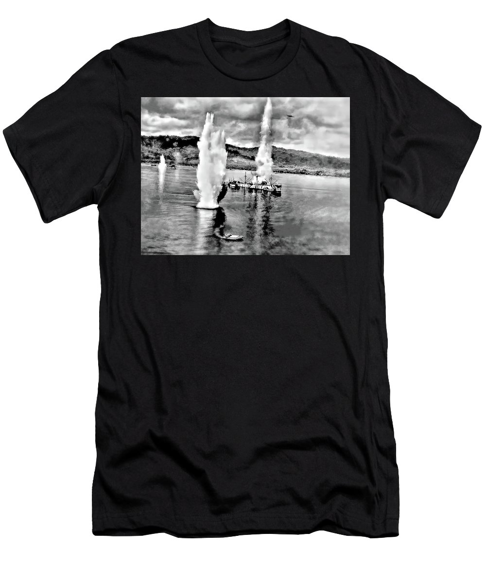 Ww Ii Men's T-Shirt (Athletic Fit) featuring the photograph Bomber Attack by Steve Harrington