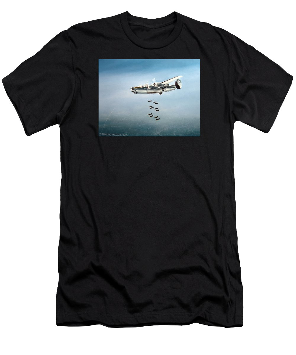 Aviation Men's T-Shirt (Athletic Fit) featuring the painting Bombs Away by Marc Stewart