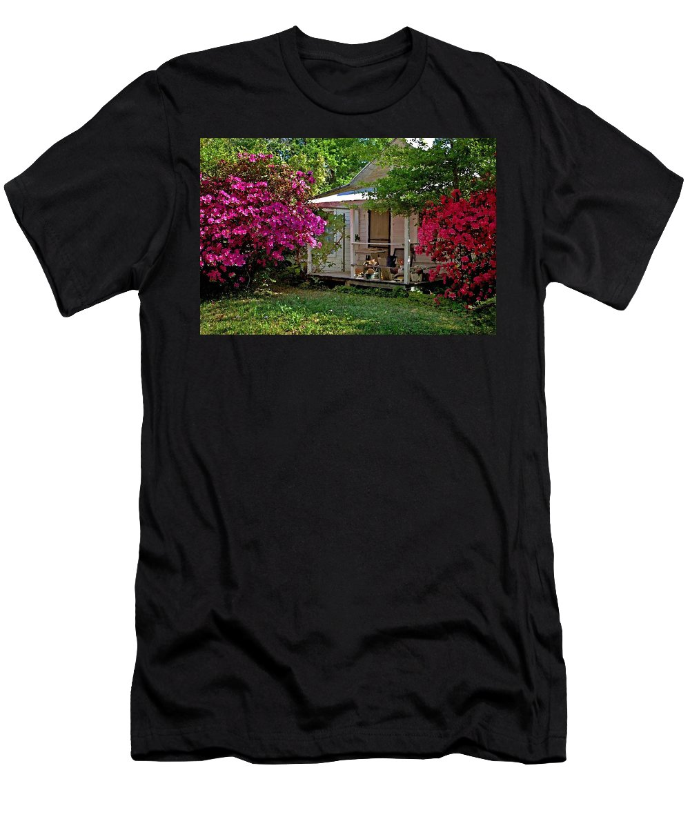 Fairhope Men's T-Shirt (Athletic Fit) featuring the digital art Bon Secour Pink Porch by Michael Thomas