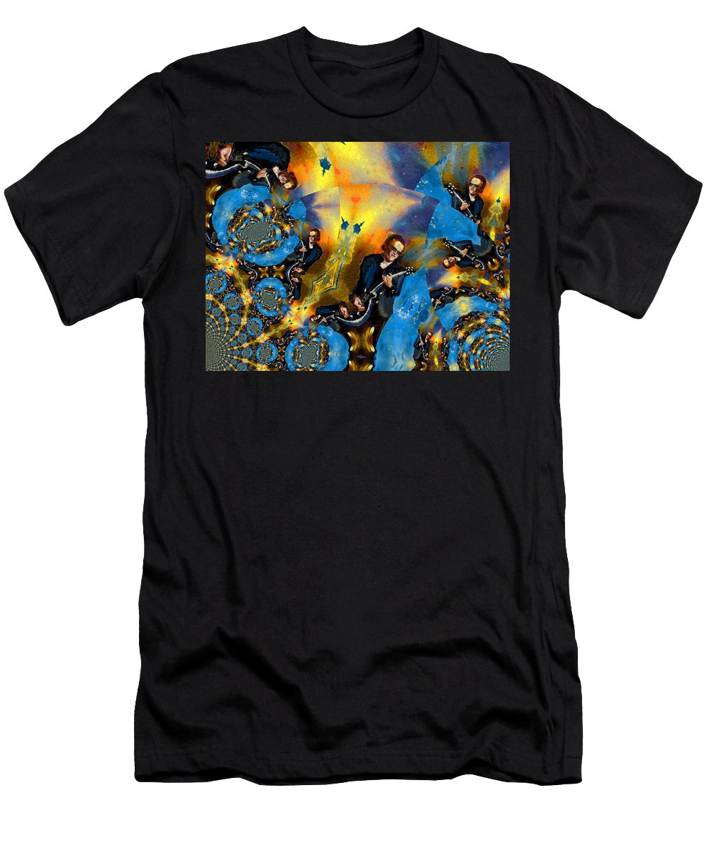 Music Men's T-Shirt (Athletic Fit) featuring the painting Bonamassa Mania by Miki De Goodaboom