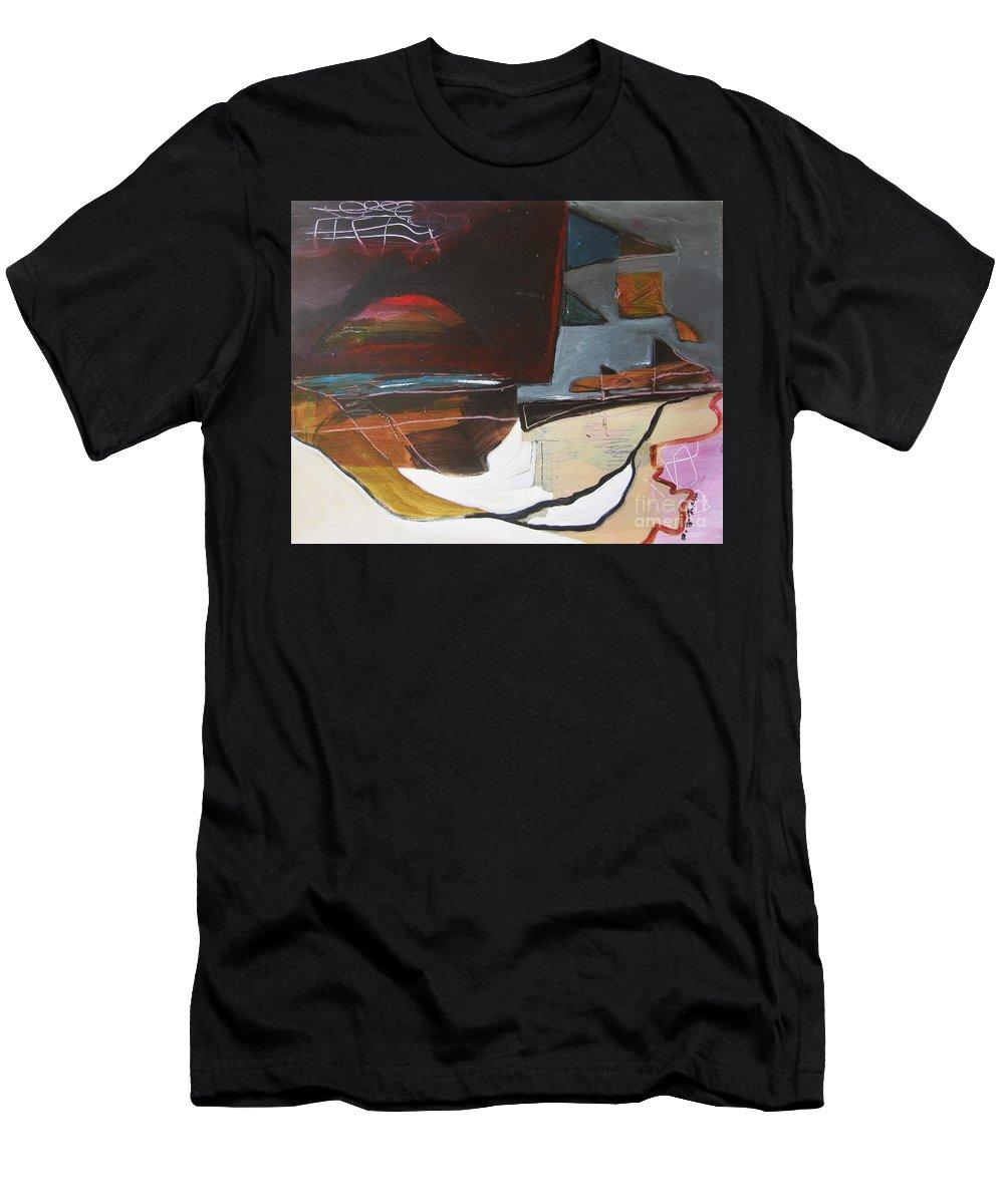 Abstract Atlantic Newfoundland Landscape Seascape Ocean Acrylic Paper Dusk Bonavista Canvas Men's T-Shirt (Athletic Fit) featuring the painting Bonavista At Dusk by Seon-Jeong Kim