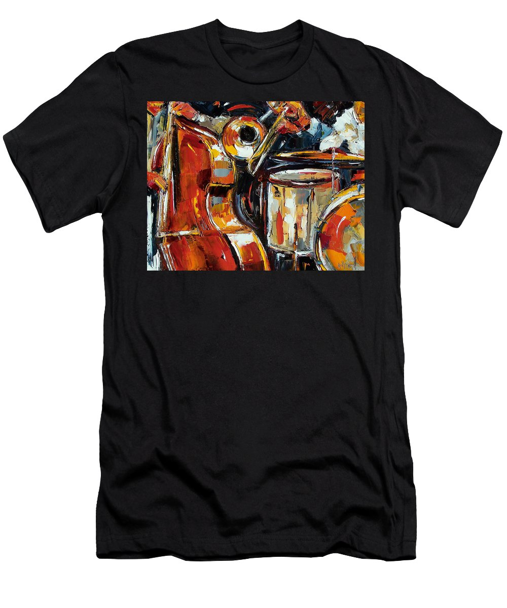 Jazz Men's T-Shirt (Athletic Fit) featuring the painting Bone Bass And Drums by Debra Hurd