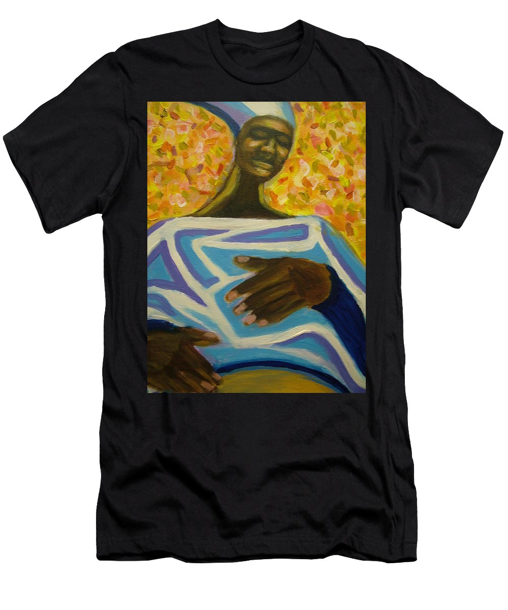 Painting Men's T-Shirt (Athletic Fit) featuring the painting Bongo Man II by Jan Gilmore