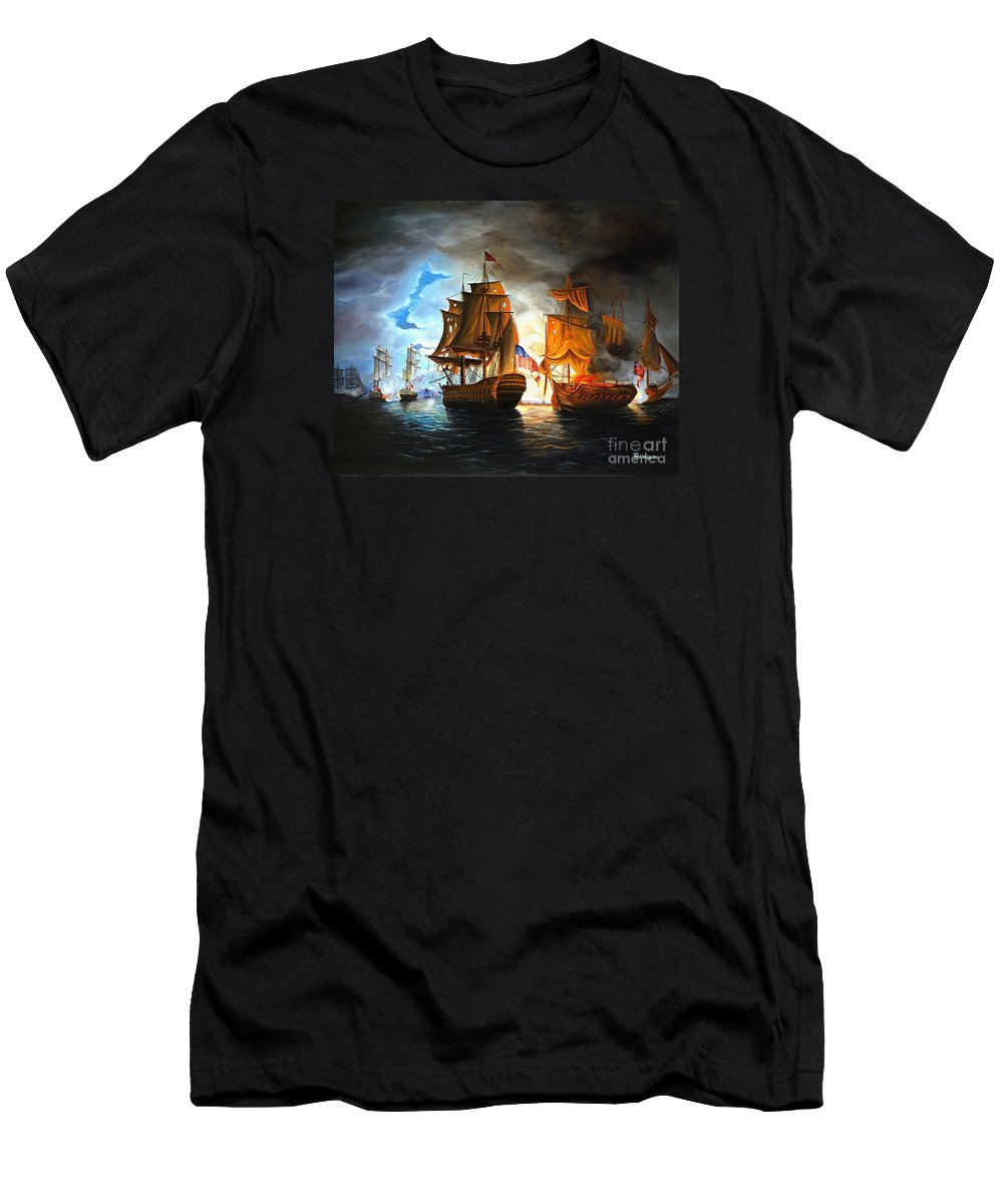 Naval Battle Men's T-Shirt (Athletic Fit) featuring the painting Bonhomme Richard Engaging The Serapis In Battle by Paul Walsh