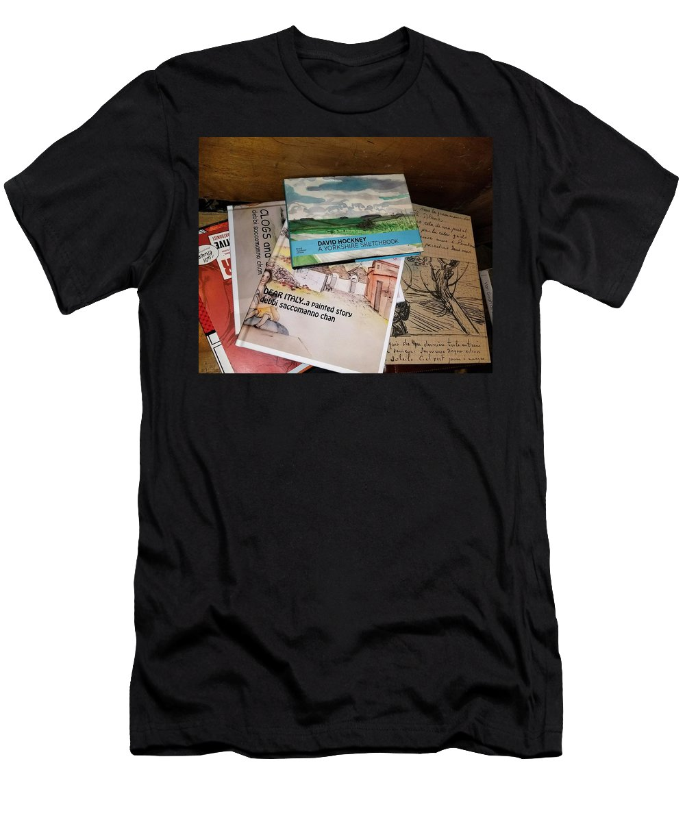 Books Men's T-Shirt (Athletic Fit) featuring the photograph Books Of Beauty by Debbi Saccomanno Chan