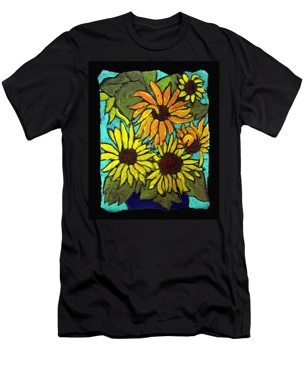 Flowers Men's T-Shirt (Athletic Fit) featuring the painting Boquet Of Sunshine by Wayne Potrafka