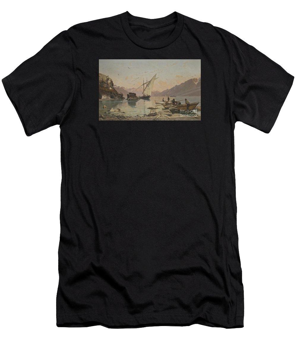 Fran�ois Bocion 1828 - 1890 Bord Du Lac A Rivaz Men's T-Shirt (Athletic Fit) featuring the painting Bord Du Lac A Rivaz by Celestial Images