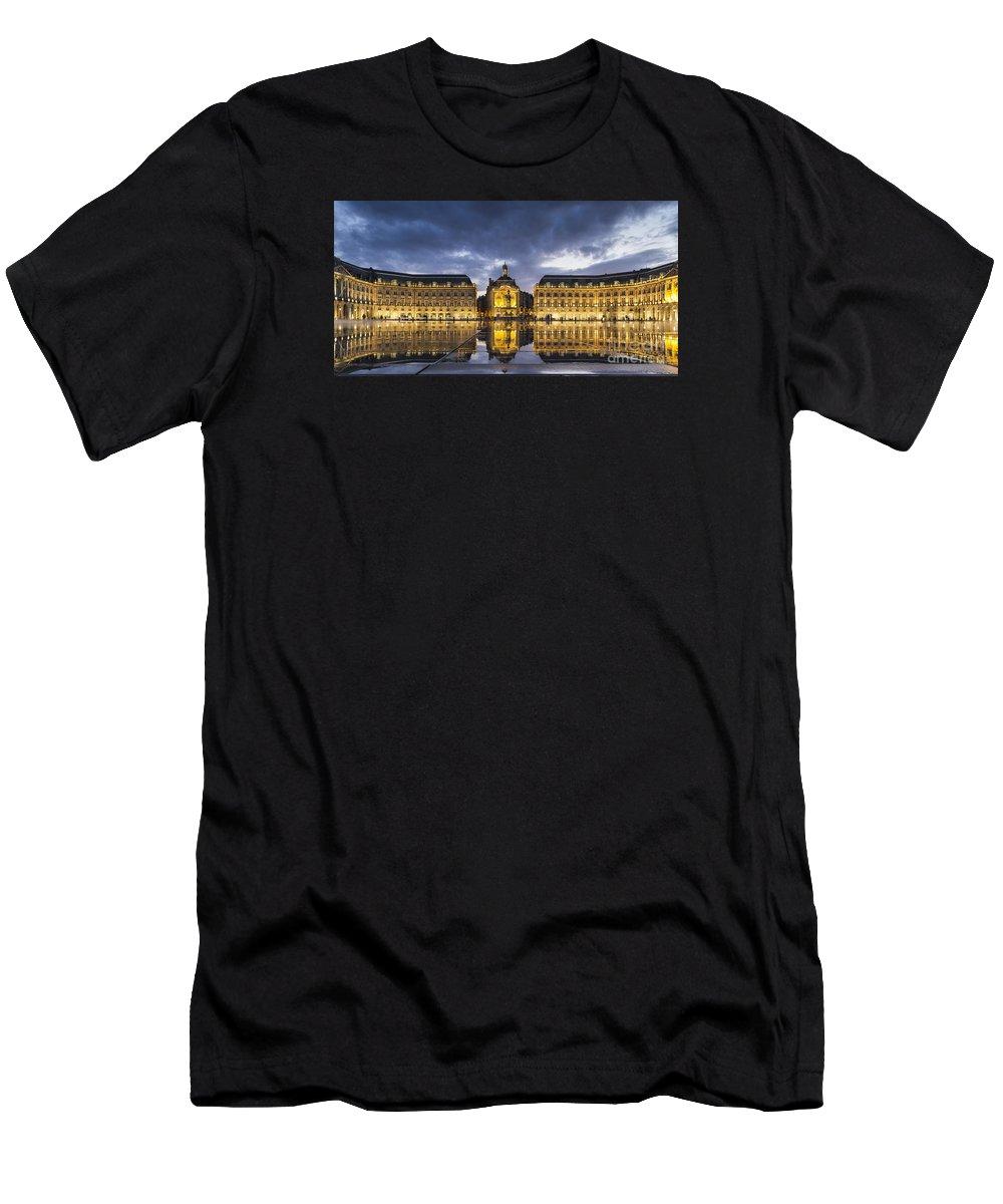 Bordeaux Men's T-Shirt (Athletic Fit) featuring the photograph Bordeaux Place De La Bourse by Pier Giorgio Mariani