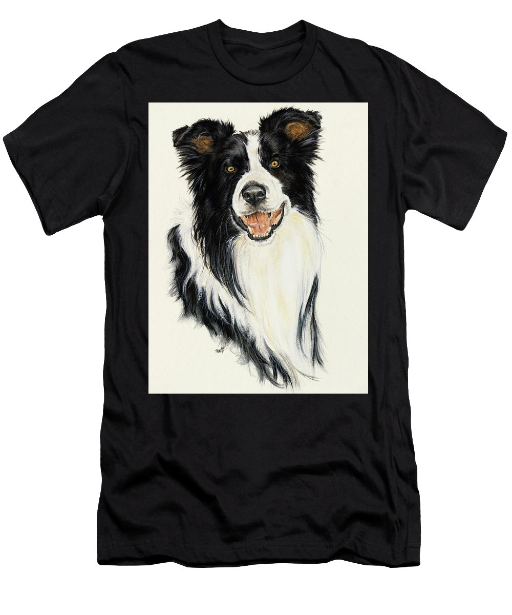 Collie Men's T-Shirt (Athletic Fit) featuring the painting Border Collie by Barbara Keith
