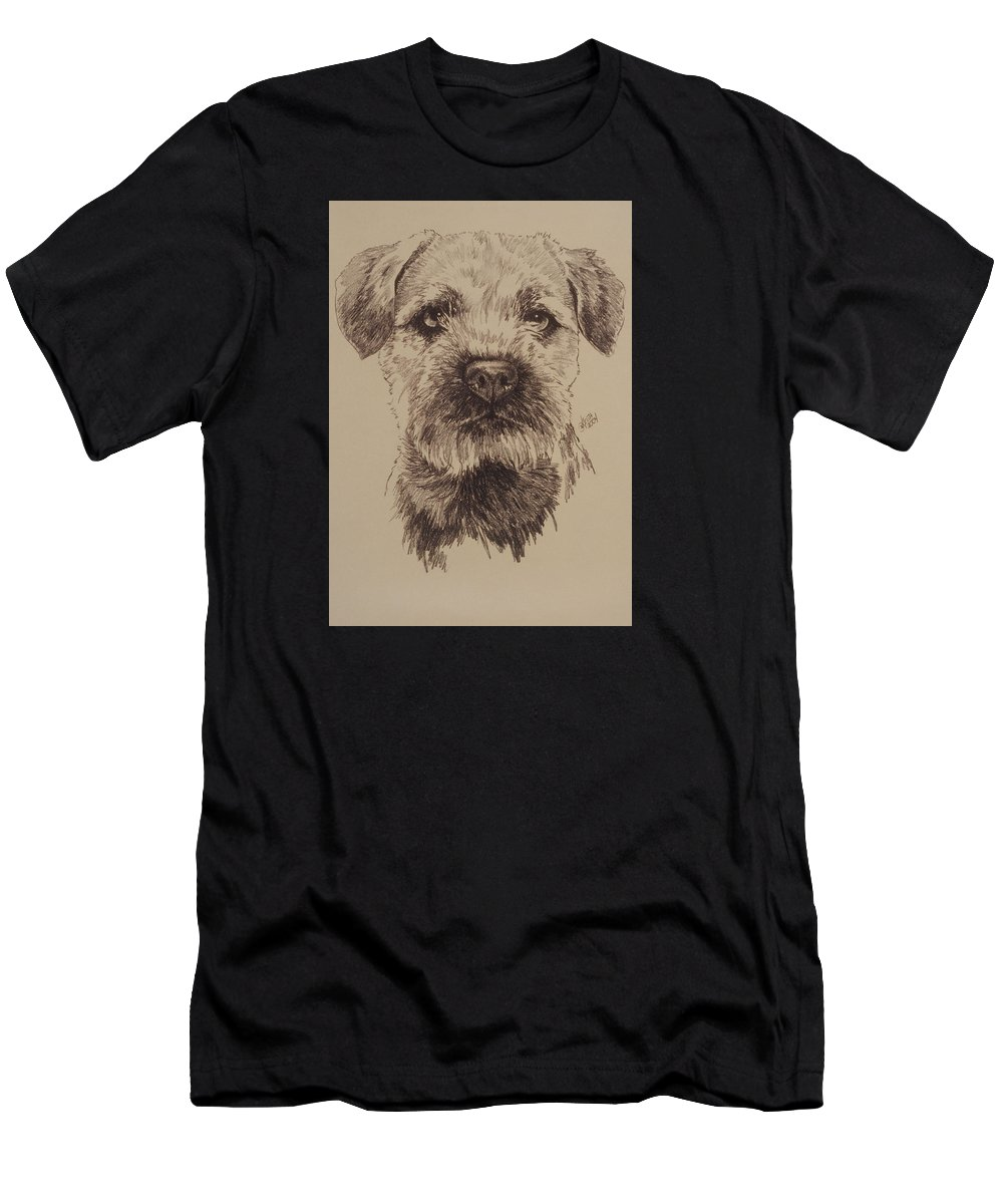 Art Men's T-Shirt (Athletic Fit) featuring the drawing Border Terrier by Barbara Keith