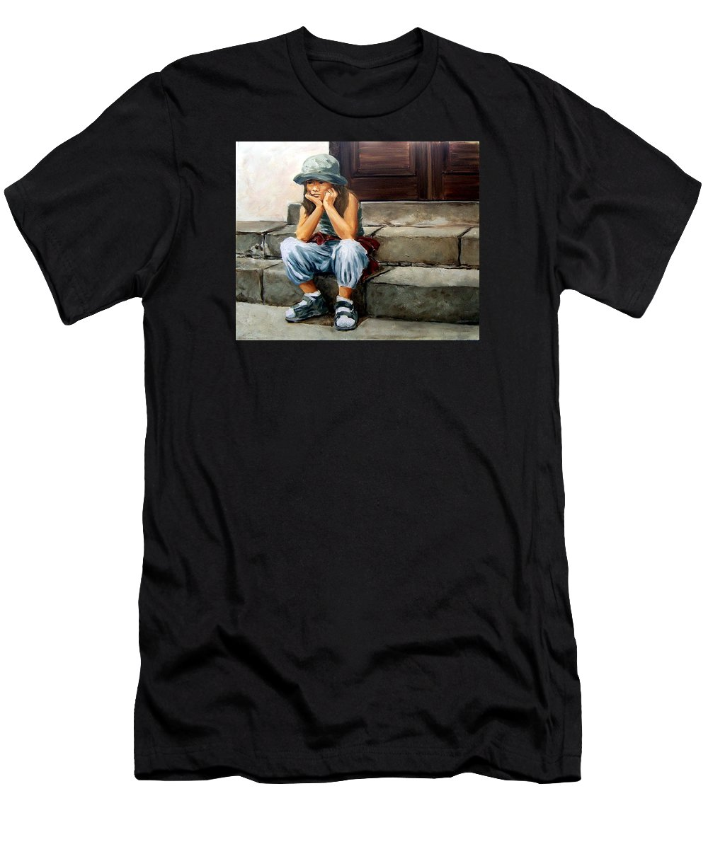 Figurative Little Girl Portrait Realism Child Kid Men's T-Shirt (Athletic Fit) featuring the painting Bored by Natalia Tejera