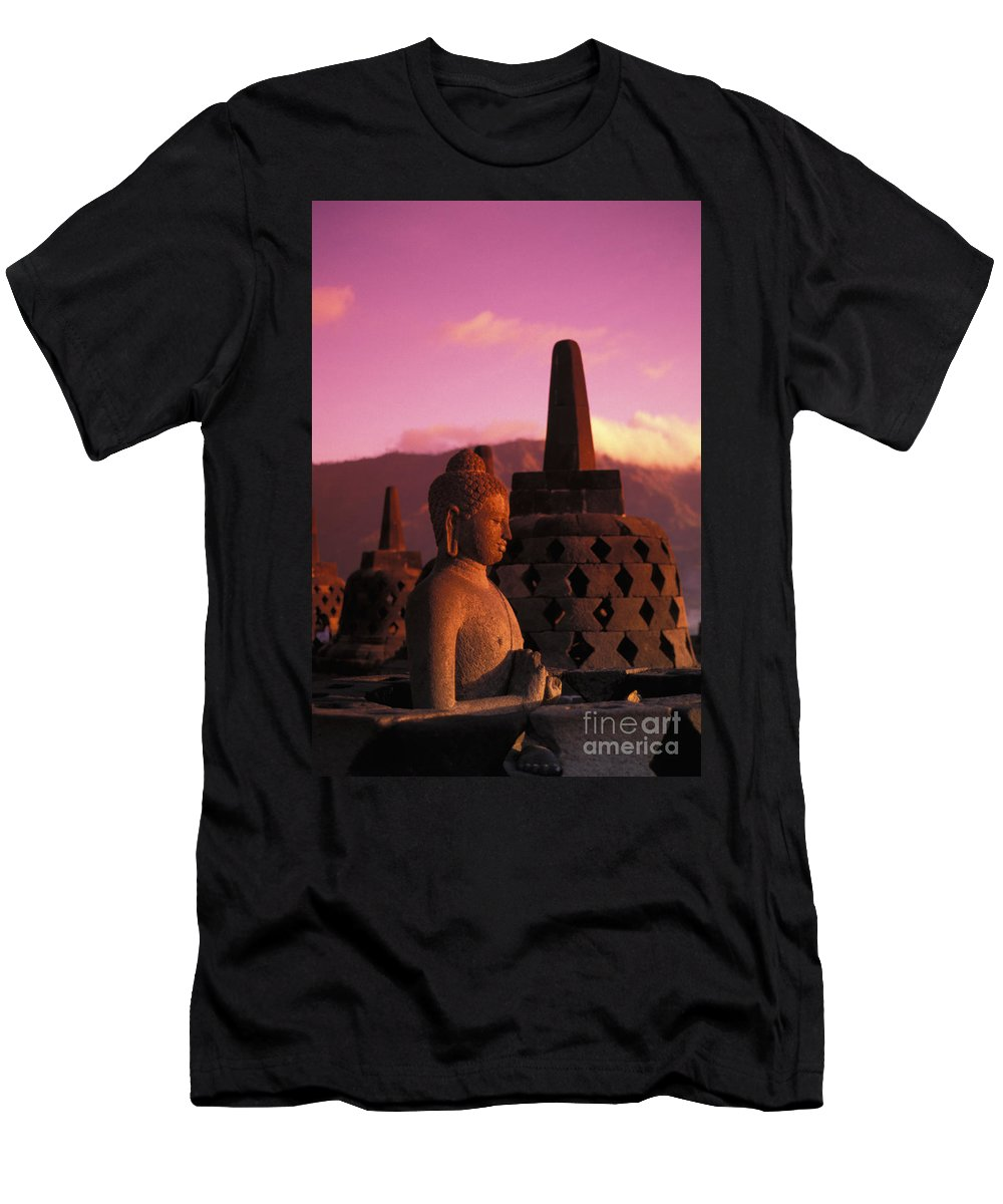 Ancient Men's T-Shirt (Athletic Fit) featuring the photograph Borobudor Temple by Gloria & Richard Maschmeyer - Printscapes