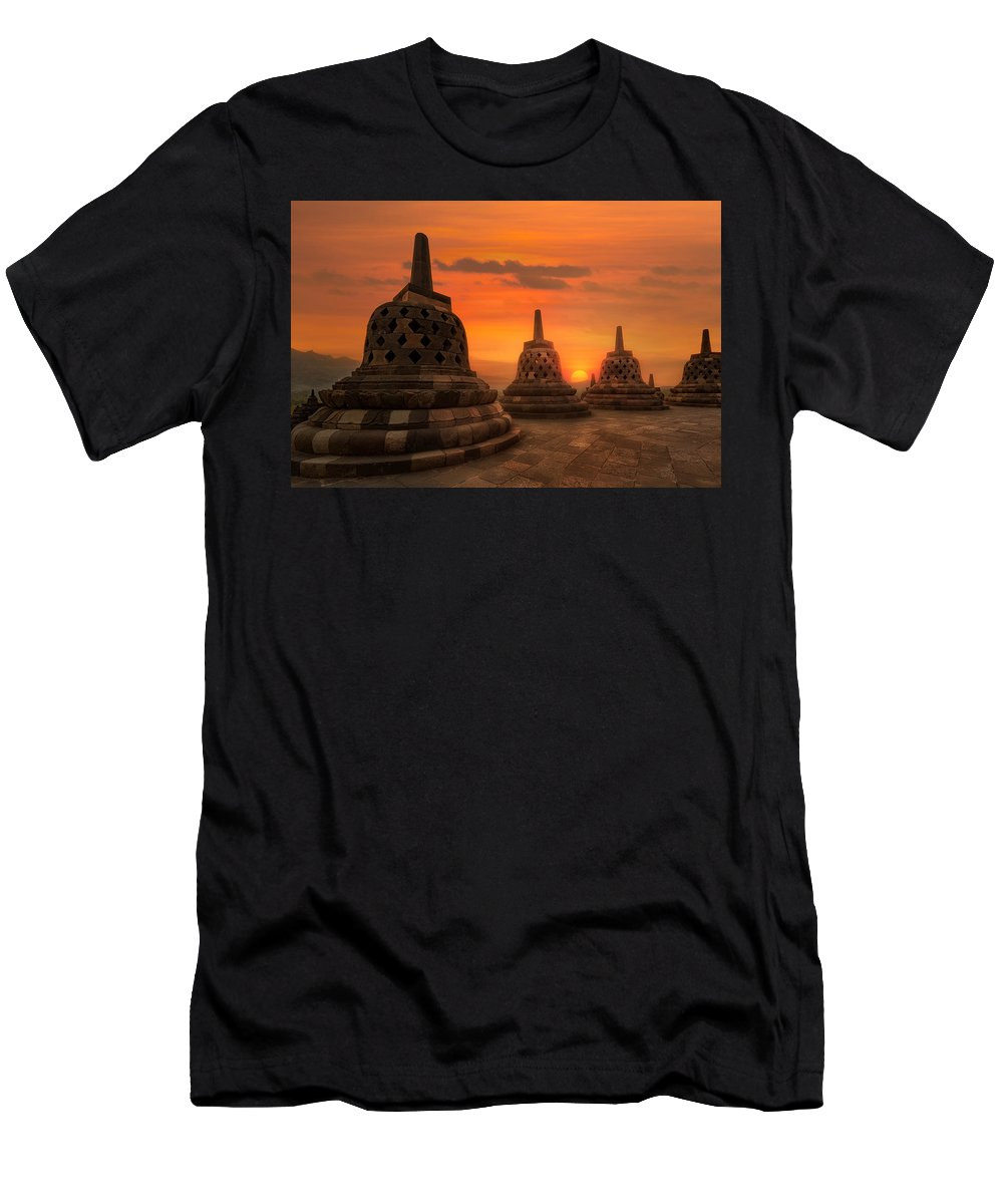 Borobudur Men's T-Shirt (Athletic Fit) featuring the photograph Borobudur by Nedjat Nuhi