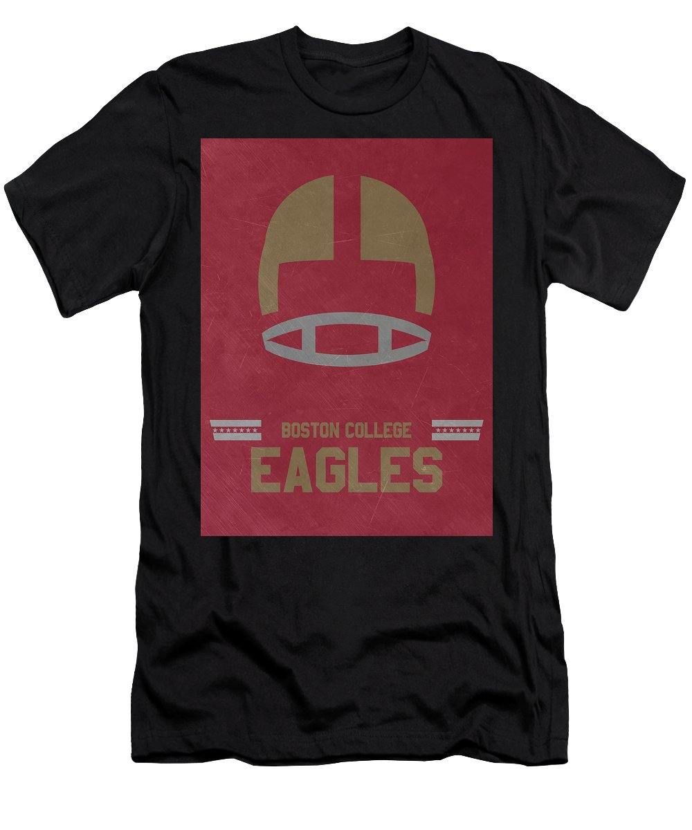 Eagles Men's T-Shirt (Athletic Fit) featuring the mixed media Boston College Eagles Vintage Football Art by Joe Hamilton