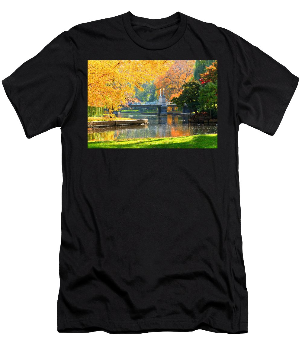 Boston Common Men's T-Shirt (Athletic Fit) featuring the photograph Fall Season At Boston Common by Louis Rivera