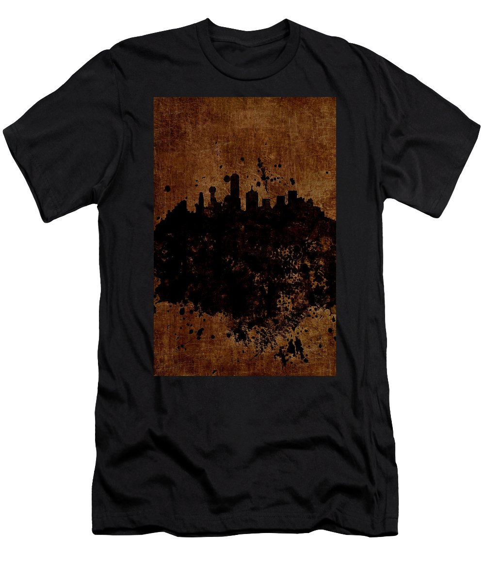 Boston Men's T-Shirt (Athletic Fit) featuring the mixed media Boston Massachusetts Skyline by Brian Reaves