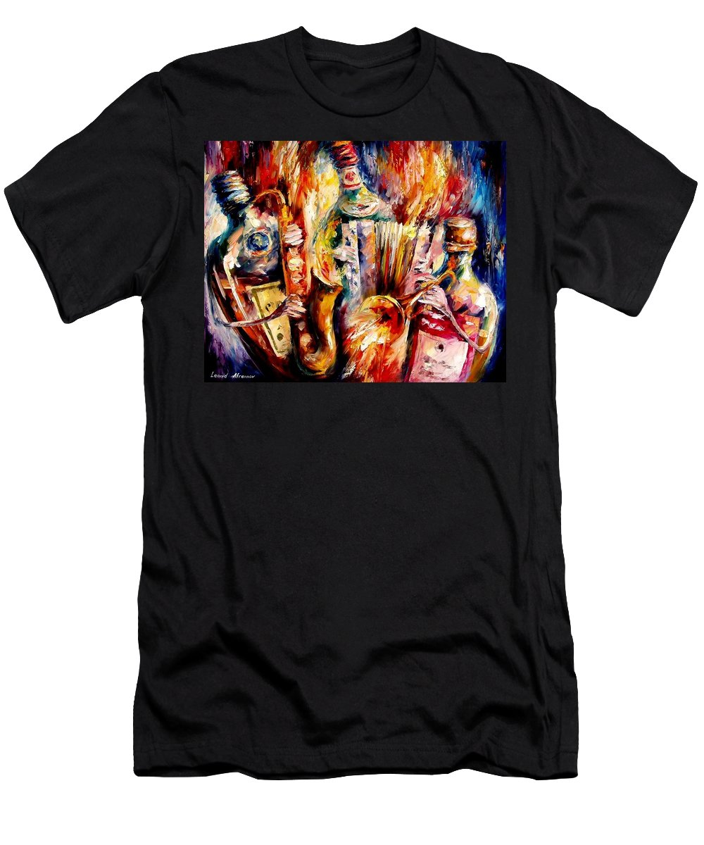 Bottle Jazz Men's T-Shirt (Athletic Fit) featuring the painting Bottle Jazz by Leonid Afremov