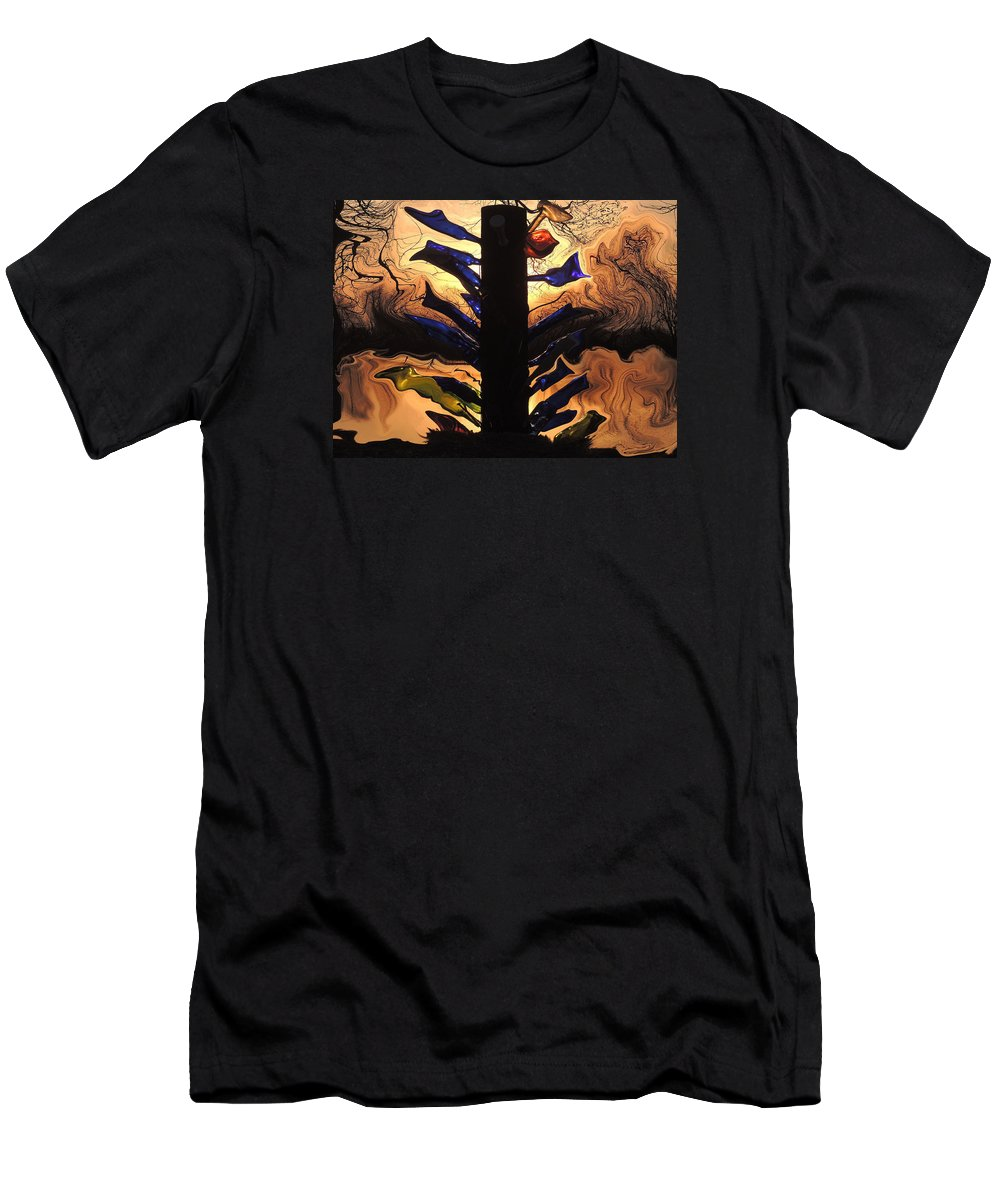 Bottle Men's T-Shirt (Athletic Fit) featuring the photograph Bottle Tree Sunrise by Delana Epperson