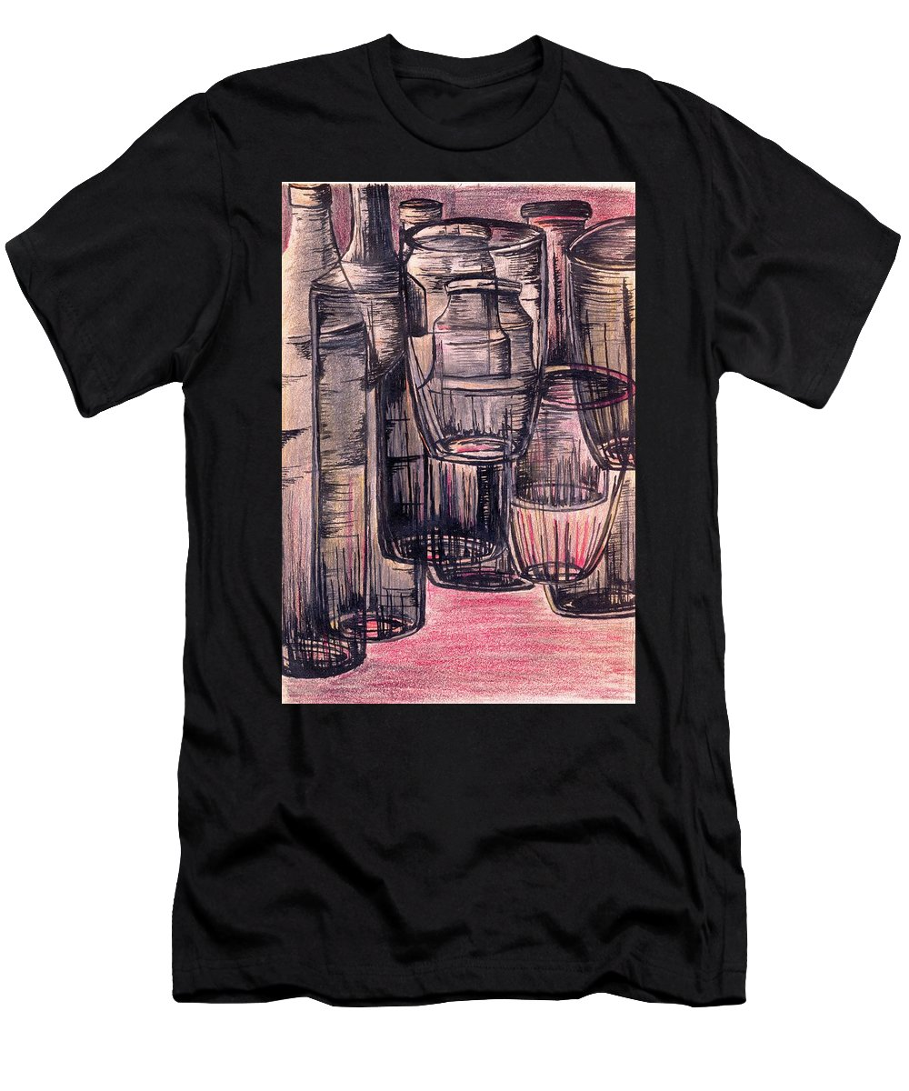 Picture Men's T-Shirt (Athletic Fit) featuring the drawing Bottles In Red by Medea Ioseliani