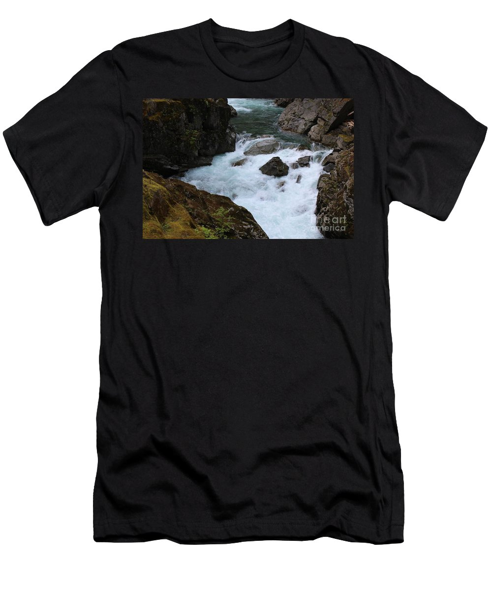 Silver Falls Men's T-Shirt (Athletic Fit) featuring the photograph Bottom Of Silver Falls by LKB Art and Photography