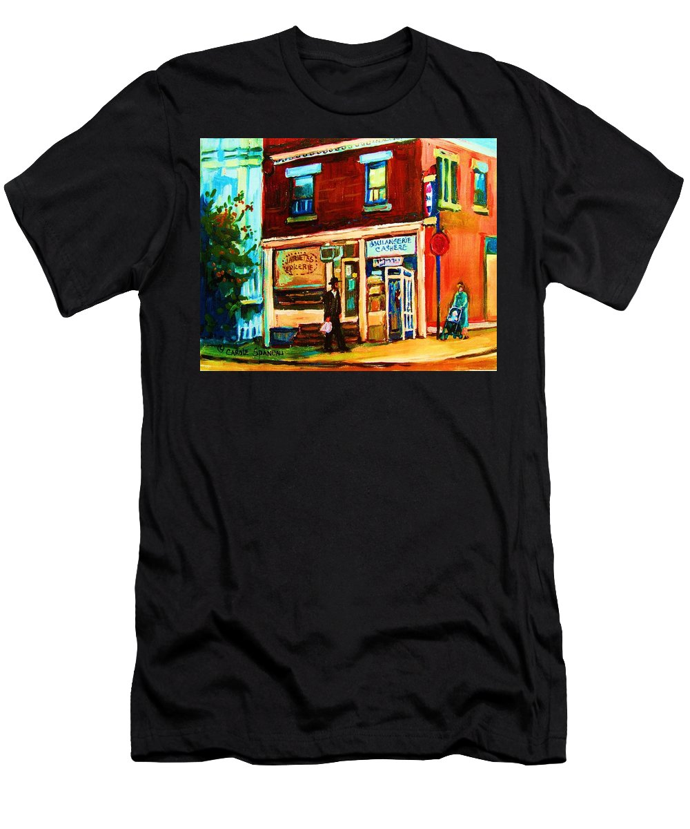 Kosher Bakery Men's T-Shirt (Athletic Fit) featuring the painting Boulangerie Cachere by Carole Spandau