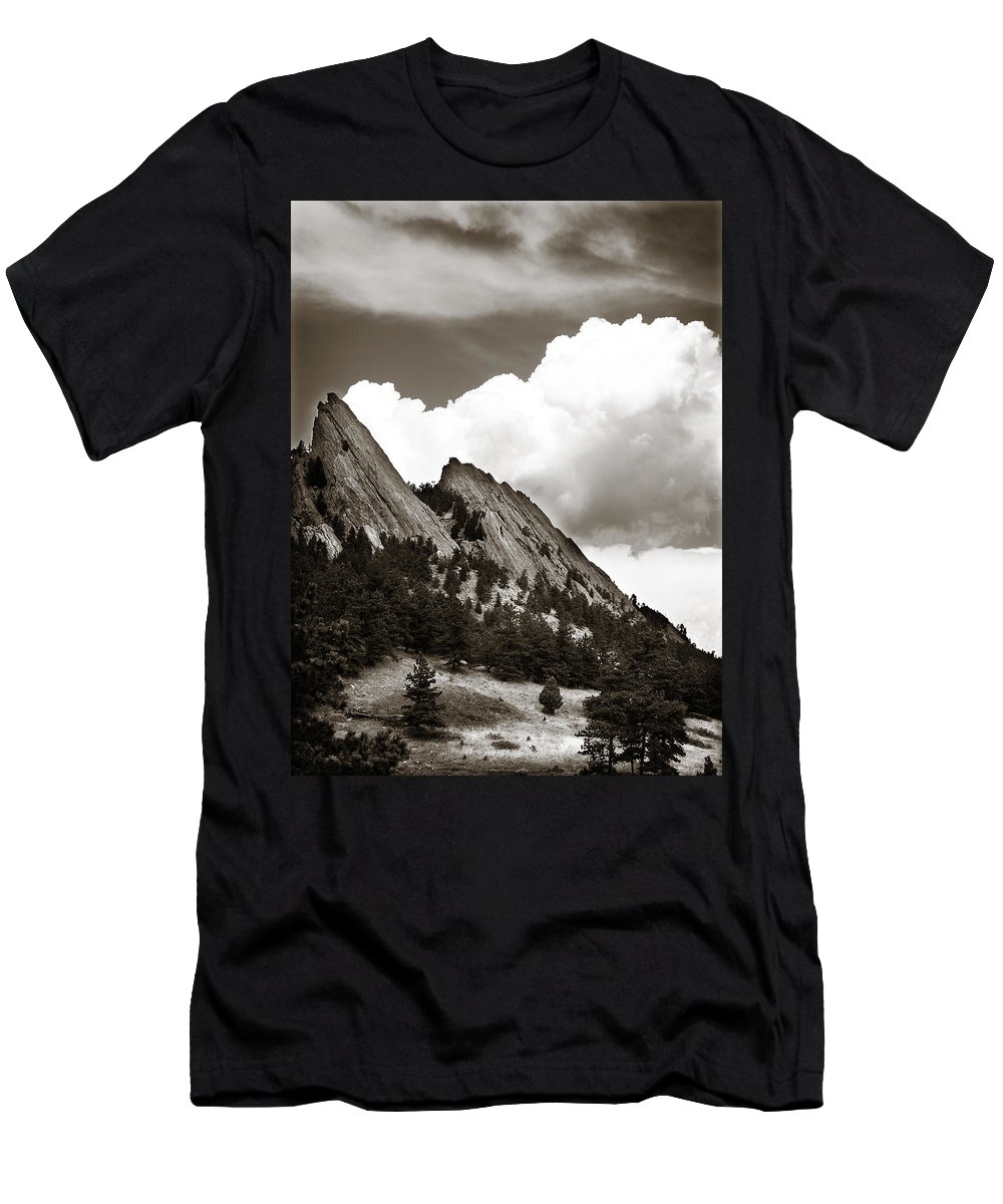 Flatirons Men's T-Shirt (Athletic Fit) featuring the photograph Large Cloud Over Flatirons by Marilyn Hunt