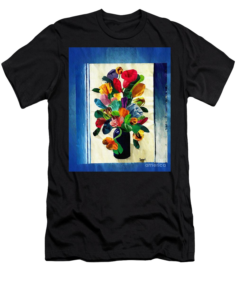 Floral Men's T-Shirt (Athletic Fit) featuring the mixed media Bouquet In A Country Window by Sarah Loft