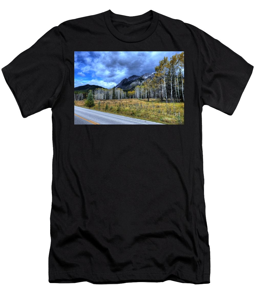 Animals Men's T-Shirt (Athletic Fit) featuring the photograph Bow Valley Parkway Banff National Park Alberta Canada by Wayne Moran