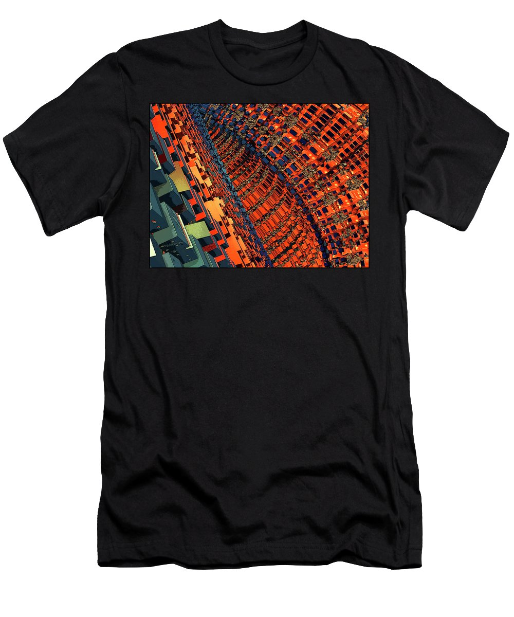 Digital Art; Color; Illusion; Abstract; Design; Imagination; Math; Music; Movement Through Time Men's T-Shirt (Athletic Fit) featuring the digital art Box Me In #10 by Kennneth Burr