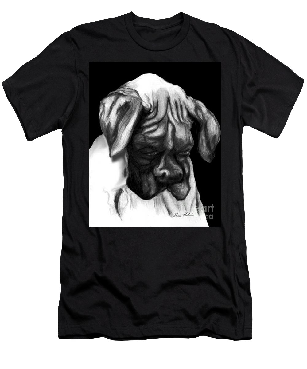 Animals Men's T-Shirt (Athletic Fit) featuring the painting Boxer Puppy by Portraits By NC