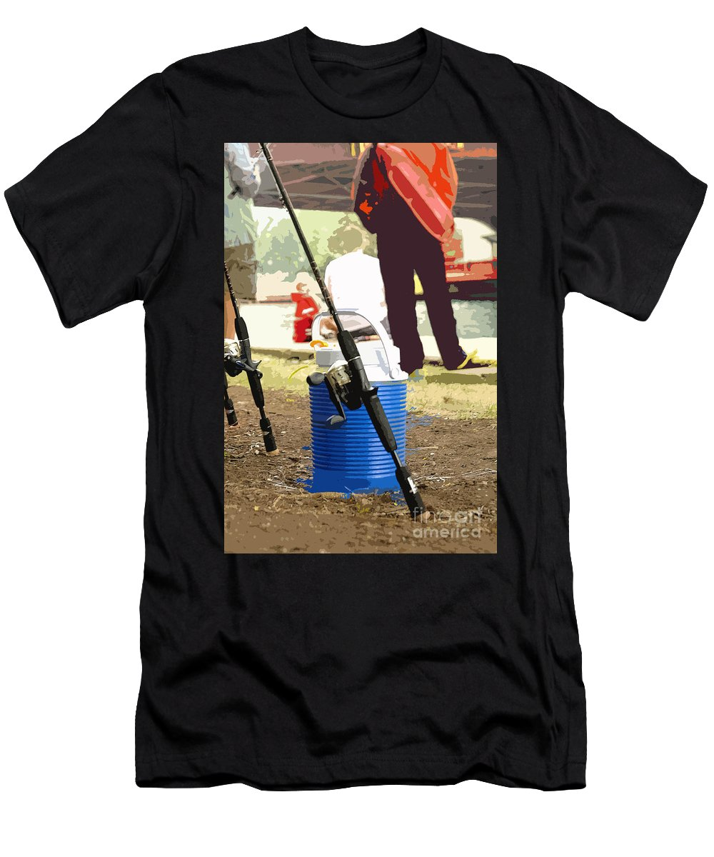 River Men's T-Shirt (Athletic Fit) featuring the photograph Boy And His Dad by David Bearden