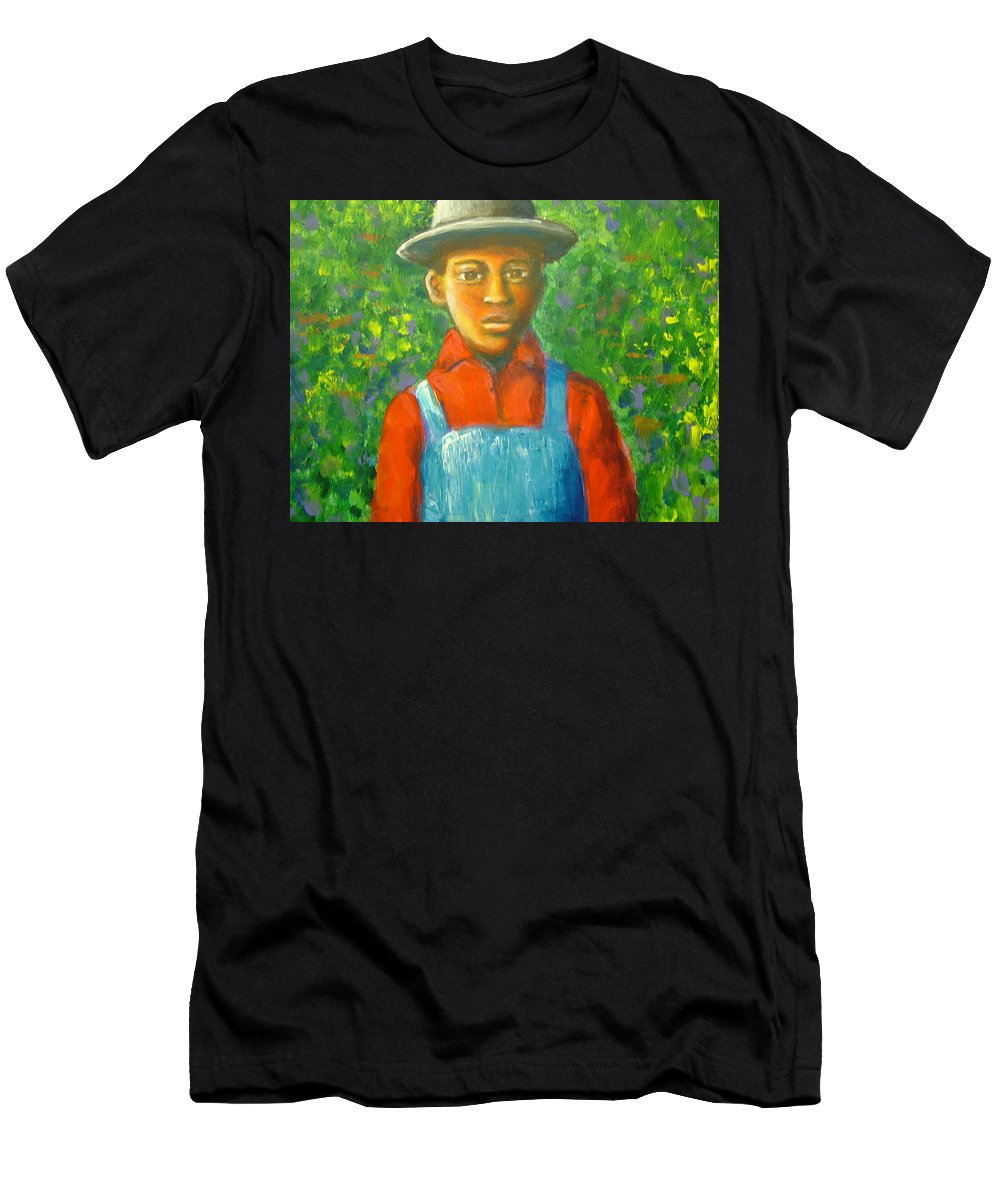 Painting Men's T-Shirt (Athletic Fit) featuring the painting 'boy In The Woods' by Jan Gilmore