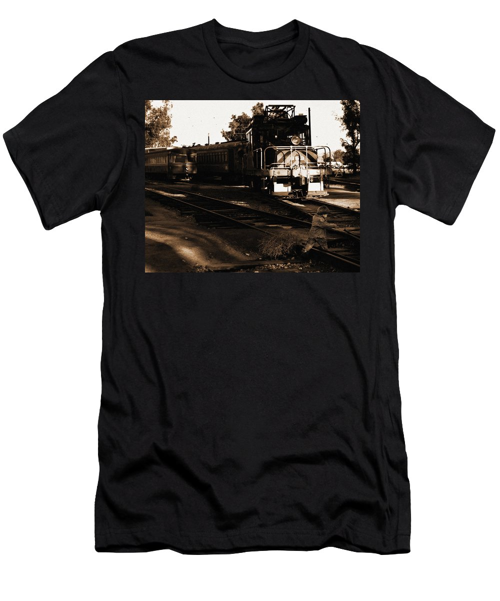 Train Men's T-Shirt (Athletic Fit) featuring the photograph Boy On The Tracks by Anthony Jones