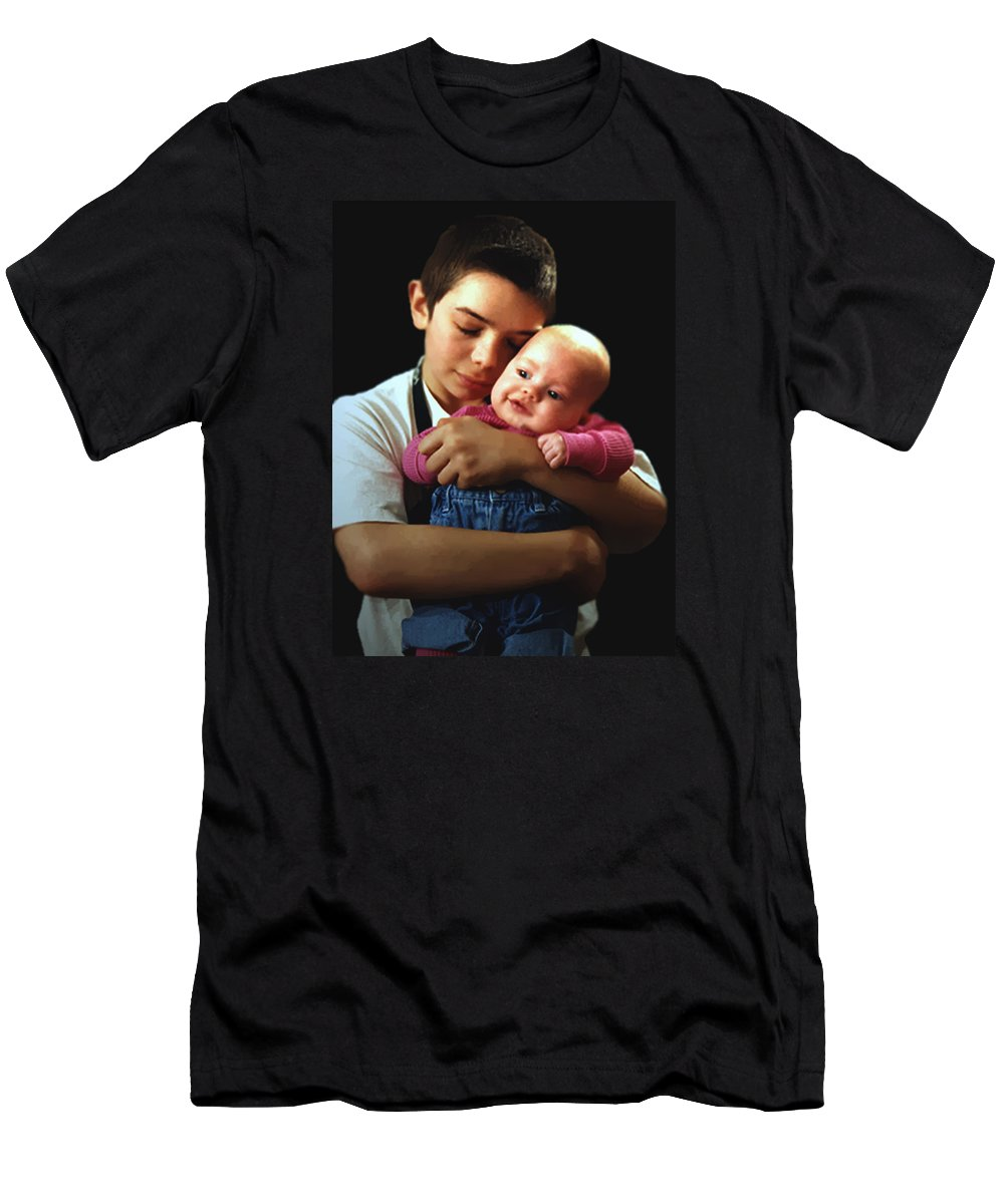 Children Men's T-Shirt (Athletic Fit) featuring the photograph Boy With Bald-headed Baby by RC DeWinter